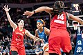 Lexie Brown (with the ball) is guarded by Kelsey Plum and Sugar Rodgers (14) (48092675986).jpg