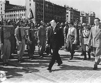 Operation Dragoon - Jean de Lattre de Tassigny walking through the liberated city of Marseille