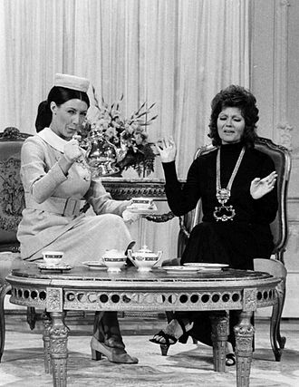 Lily Tomlin - Tomlin as Mrs. Earbore (The Tasteful Lady) with Rita Hayworth on Rowan & Martin's Laugh-In (1971)