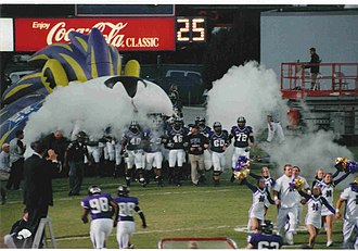 North Alabama Lions - UNA Lions emerging from the Lion Victory Tunnel at Braly Municipal Stadium before the start of a UNA home game in 2007.