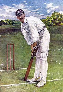 Colour painting of Lionel Palairet prepared to bat.