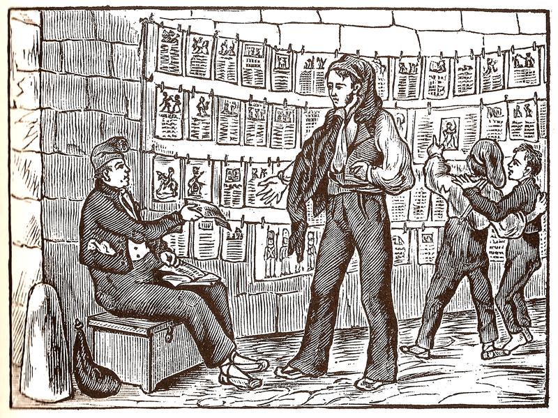 Ilustración de época sobre la literatura de cordel.