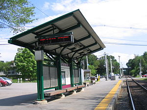 Fitchburg Line - Before the improvement project, Littleton/Route 495 station had a non-accessible low platform served by a single track.