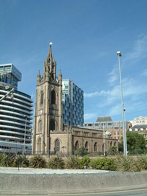 Church of Our Lady and Saint Nicholas, Liverpool - Pier Head church from the south-west.