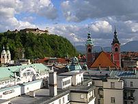 Ljubljana skyline, including Ljubljana Castle