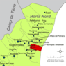 Localització de Meliana respecte de l'Horta Nord.png