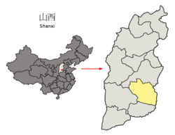 Location of Changzhi City jurisdiction in Shanxi