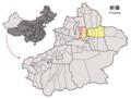 Location of Manas within Xinjiang (China).png
