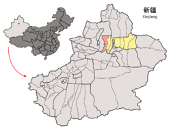 Location of Manas County (pink) in Changji Prefecture (yellow) and Xinjiang (grey)