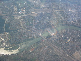 Birsfelden - Aerial view of the Rhine at Basel, with Birsfelden in the lower left section.