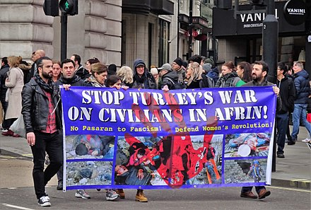 Protest in London against Turkish military operation in Afrin, 31 March 2018 London 2018 Kurdish Protest, Afrin Kurd Turkey Middle East.jpg