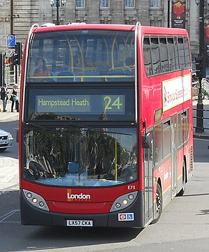 London Buses route 24 - London General Alexander Dennis Enviro400 at Trafalgar Square in June 2011