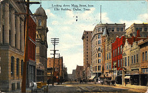 Main Street District, Dallas - Looking down Main Street from Elks Building, Dallas, Texas (postcard, circa 1911)