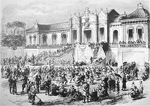 Sack of the Old Summer Palace in Beijing by British-French soldiers, illustration by Godefroy Durand, 1860