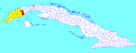 Los Palacios municipality (red) within  Pinar del Río Province (yellow) and Cuba