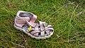 Lost and abandoned child's sandal in Sandvik, Lysekil 1.jpg