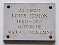 Louis Hémon plaque - 26 rue Vauquelin, Paris 5.jpg