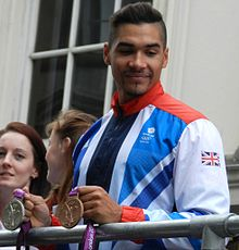 Louis Smith at the Olympic Victory Parade.JPG