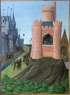À gauche, siège d'Avignon, au milieu mort du roi Louis VIII (Miniature de Jean Fouquet - XVesiècle)