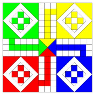 Ludo (board game) - Ludo board diagram