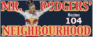 Luke Rodgers - Rodgers depicted on an iconic Red Bull Arena supporter banner.