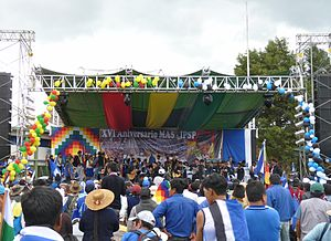 Movement for Socialism (Bolivia) - MAS-IPSP partisans celebrate the 16th anniversary of the party's founding in Sacaba, Cochabamba.