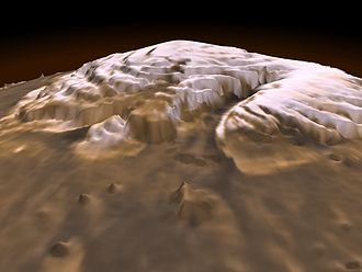 Geology of Mars - Mars Orbital Laser Altimeter (MOLA) derived image of Planum Boreum. Vertical exaggeration is extreme. Note that residual ice cap is only the thin veneer (shown in white) on top of the plateau.