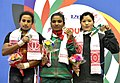 Mabia Aktar (Bangladesh) won Gold, Ayesha Vinodani Dharmasena Lanka Geeganage (Sri Lanka) won Silver and Jun Maya Chhantyal (Nepal) won Bronze in 63kg women Weight Lifting, at the 12th South Asian Games-2016, in Guwahati.jpg