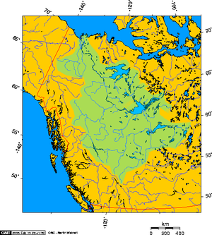 Lake Athabasca - Mackenzie River drainage basin showing Lake Athabasca's position south of Great Slave Lake
