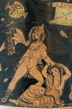 Lycurgus of Thrace - Lycurgus, driven mad by Dionysus, attacks his wife. Name-piece of the Lycurgus Painter, 350-340 BC. British Museum.