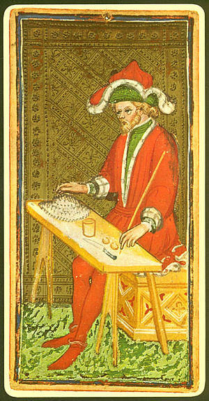 "Magic (paranormal) - The ""Magician"" card from a 15th-century tarot deck."