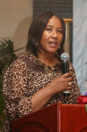 Makaziwe Mandela - Makaziwe Mandela-Amuah talking in a press conference during Miss World 2007 in Sanya, China