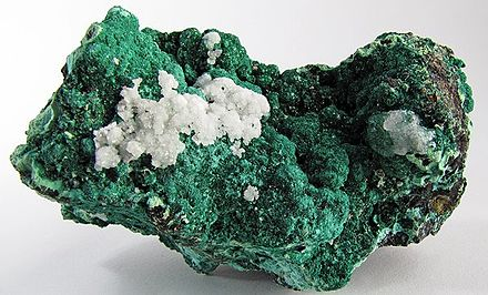 Specimen of malachite from the Old Dominion mine Malachite-Calcite-282263.jpg