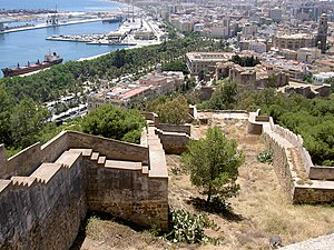 Siege of Málaga (1487) - Modern Málaga from the ramparts of Gibralfaro, looking towards the citadel, visible below