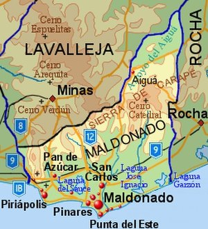 Maldonado Department - Topographic map of Maldonado Department showing main populated places and roads