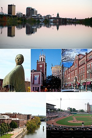 Clockwise from top: Manchester skyline, Hanover Street, Northeast Delta Dental Stadium, the Arms Park Riverwalk and Millyard, the Mill Girl statue, and the Currier Museum of Art.