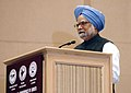 """Manmohan Singh addressing at the International Conference of """"Jurists on Terrorism, Rule of Law & Human Rights"""", jointly organised by Council of Jurists, All India Bar Association and Indian Council of Jurists, in New Delhi.jpg"""