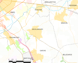 Mapa obce Bouillargues