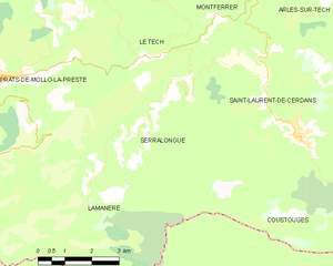Serralongue - Map of Serralongue and its surrounding communes