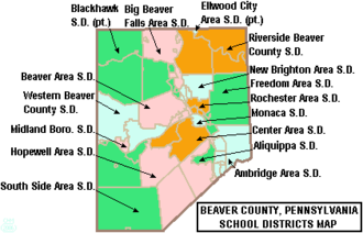 Center Area School District - Image: Map of Beaver County Pennsylvania School Districts