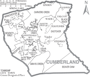 Cumberland County, North Carolina - Map of Cumberland County, North Carolina With Municipal and Township Labels