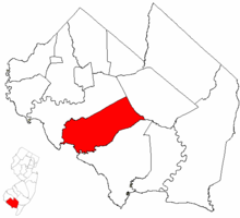 Lawrence Township highlighted in Cumberland County. Inset map: Cumberland County highlighted in the State of New Jersey.