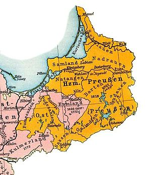 Sambia Peninsula - Samland within the Duchy of Prussia, ca. 1648.