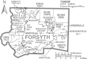 Forsyth County, North Carolina - Map of Forsyth County, North Carolina With Municipal and Township Labels