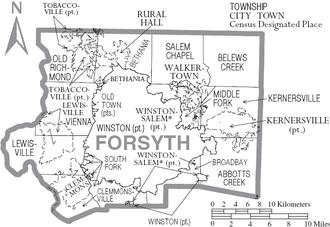Forsyth County, North Carolina - Map of Forsyth County, North Carolina With Municipal and Township Labels