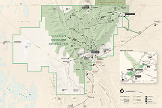 Guadalupe Mountains National Park - Map of Guadalupe Mountains National Park
