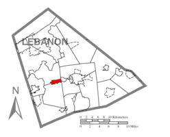 Location within Lebanon county