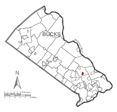 Map of Newtown, Bucks County, Pennsylvania Highlighted.png
