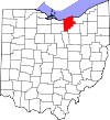 State map highlighting Lorain County