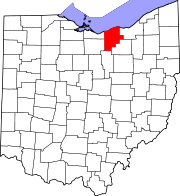 Map of Ohio highlighting Lorain County